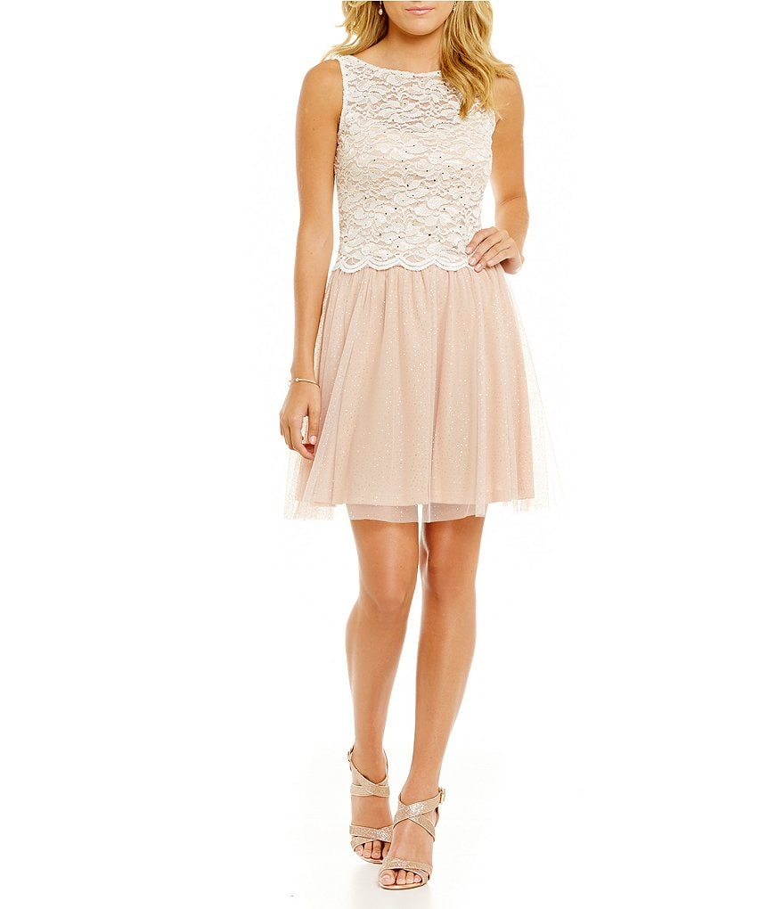 Jump Glitter Lace Top Two-Piece Party Dress