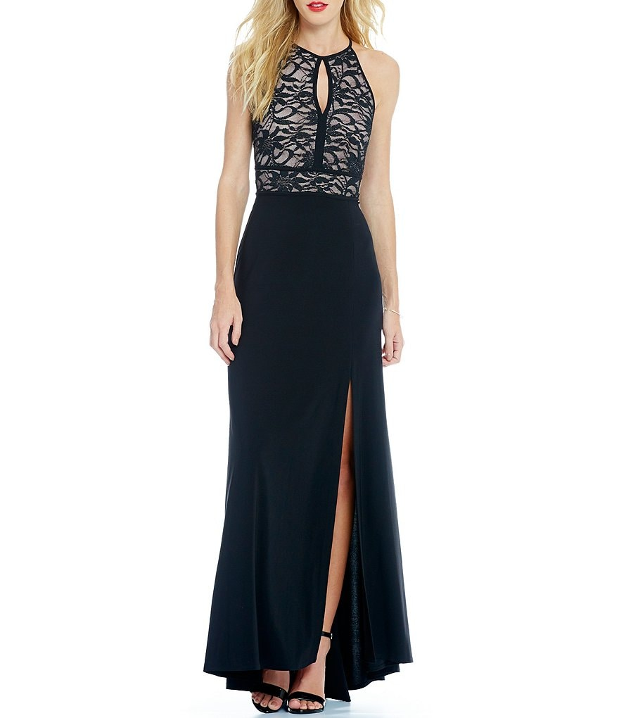 Morgan & Co. Glitter Lace Keyhole Bodice Long Dress