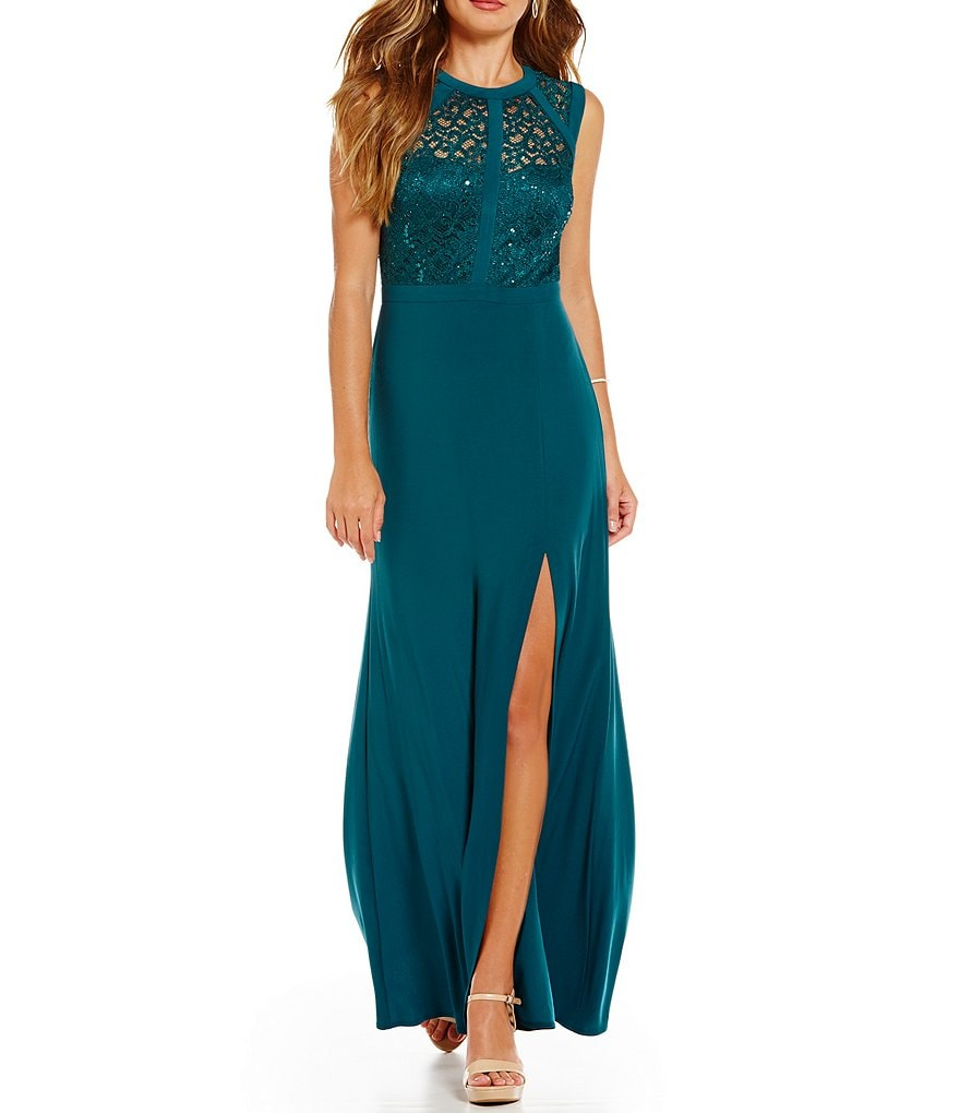 Morgan & Co. Sequin Embellished Illusion Lace Bodice Long Dress