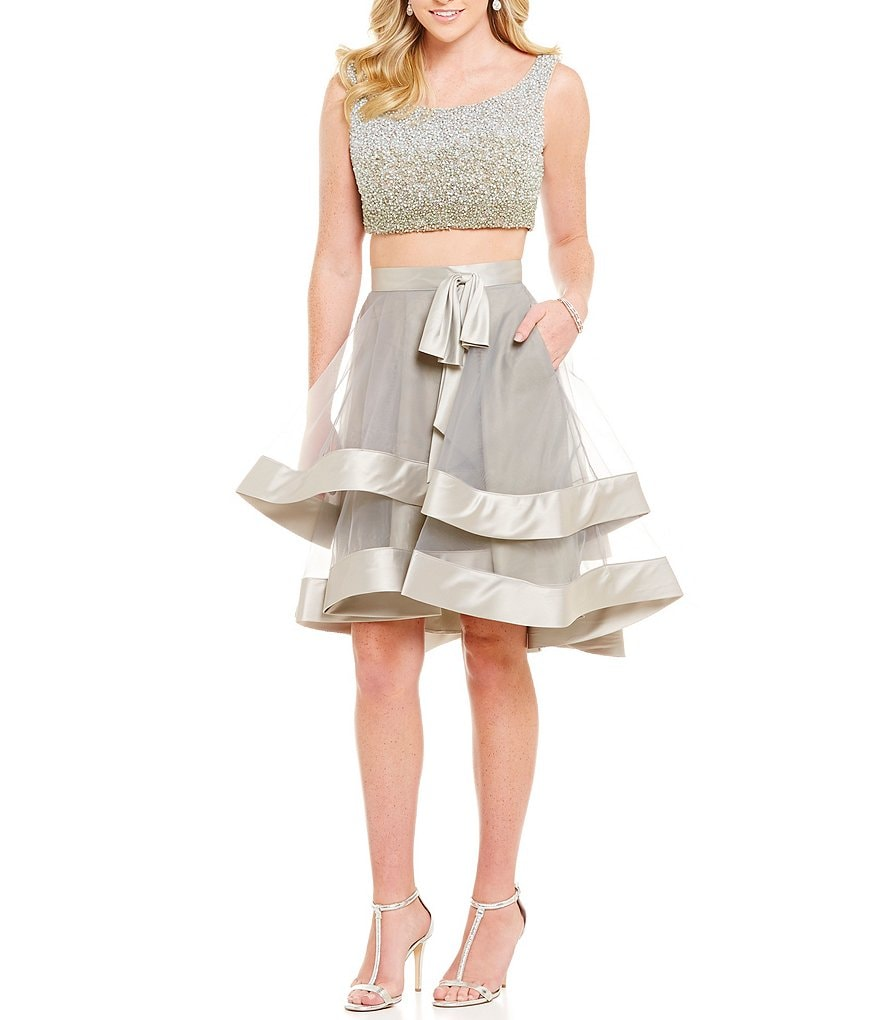 Glamour by Terani Couture Beaded Bodice Tiered Skirt Two-Piece Dress