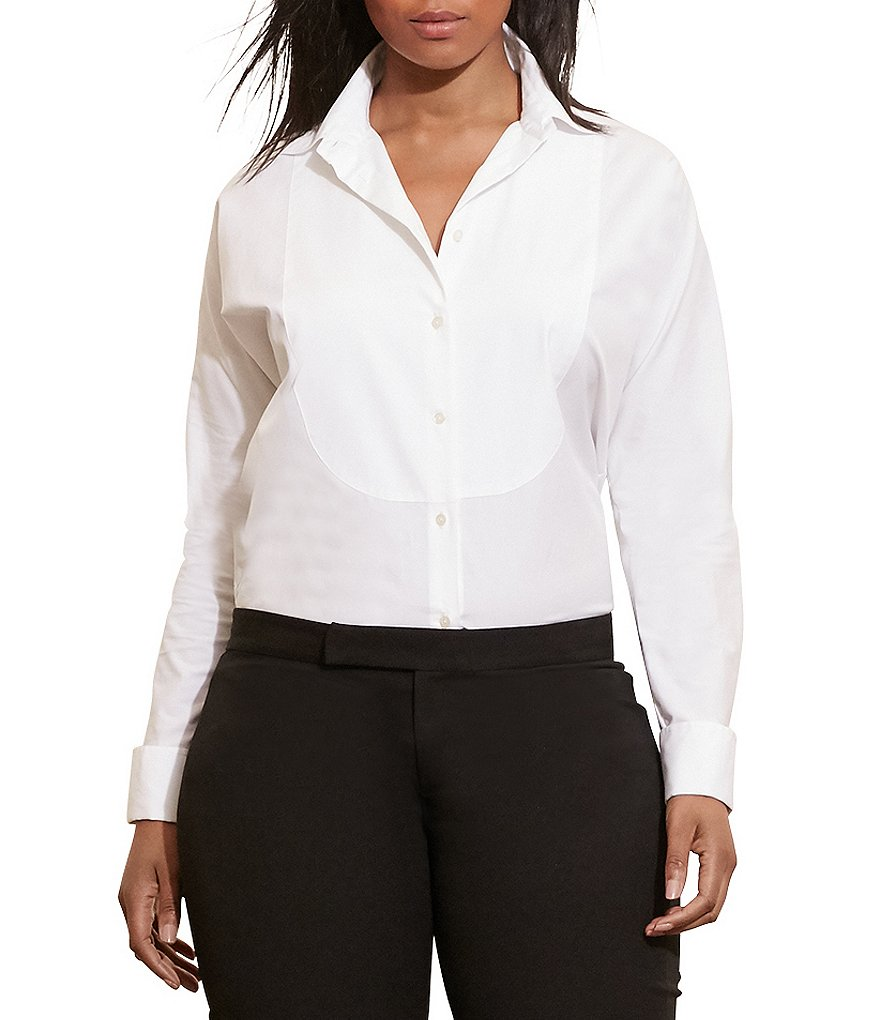 Lauren Ralph Lauren Plus Cotton Poplin Bib Shirt