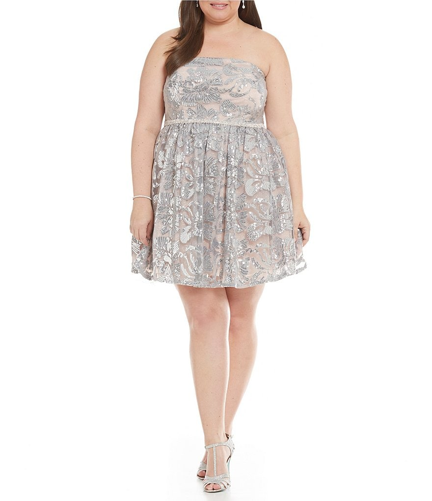 Jodi Kristopher Plus Strapless Floral Sequin Party Dress