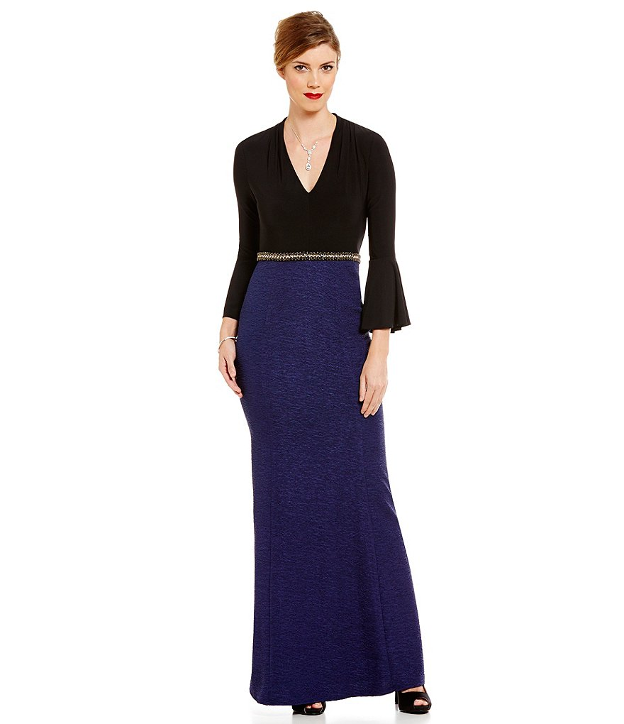 Decode 1.8 Mermaid V-Neck Bell Sleeve Beaded Waist Two-Tone Gown