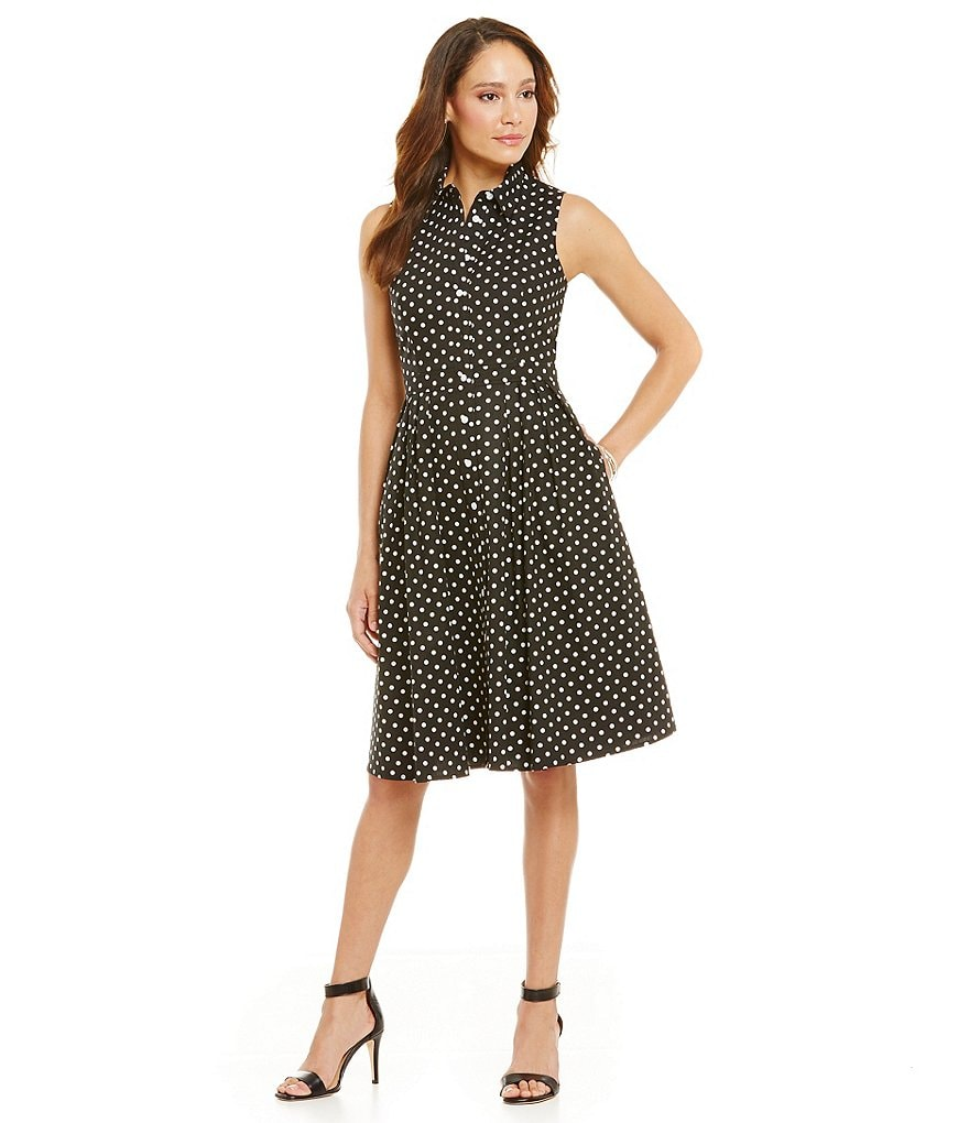 Jessica Howard Petite Polka Dot Shirt Dress