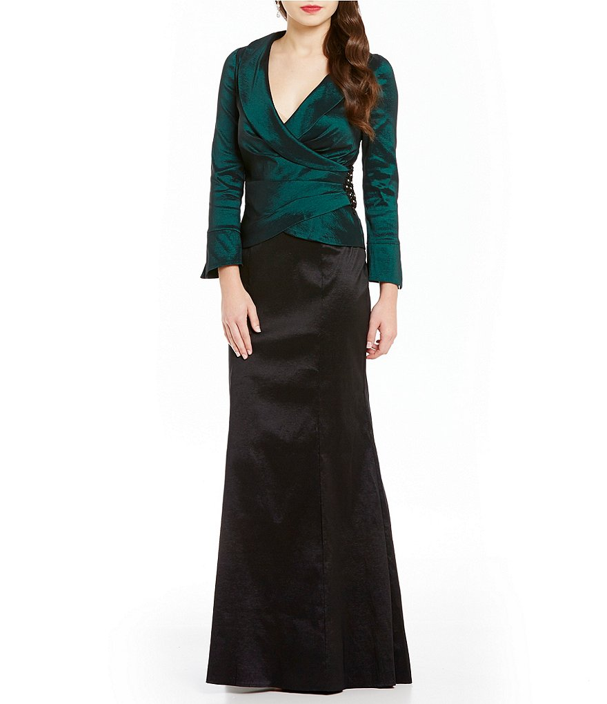 Decode 1.8 Mock Two-Piece Faux-Wrap Taffeta Gown
