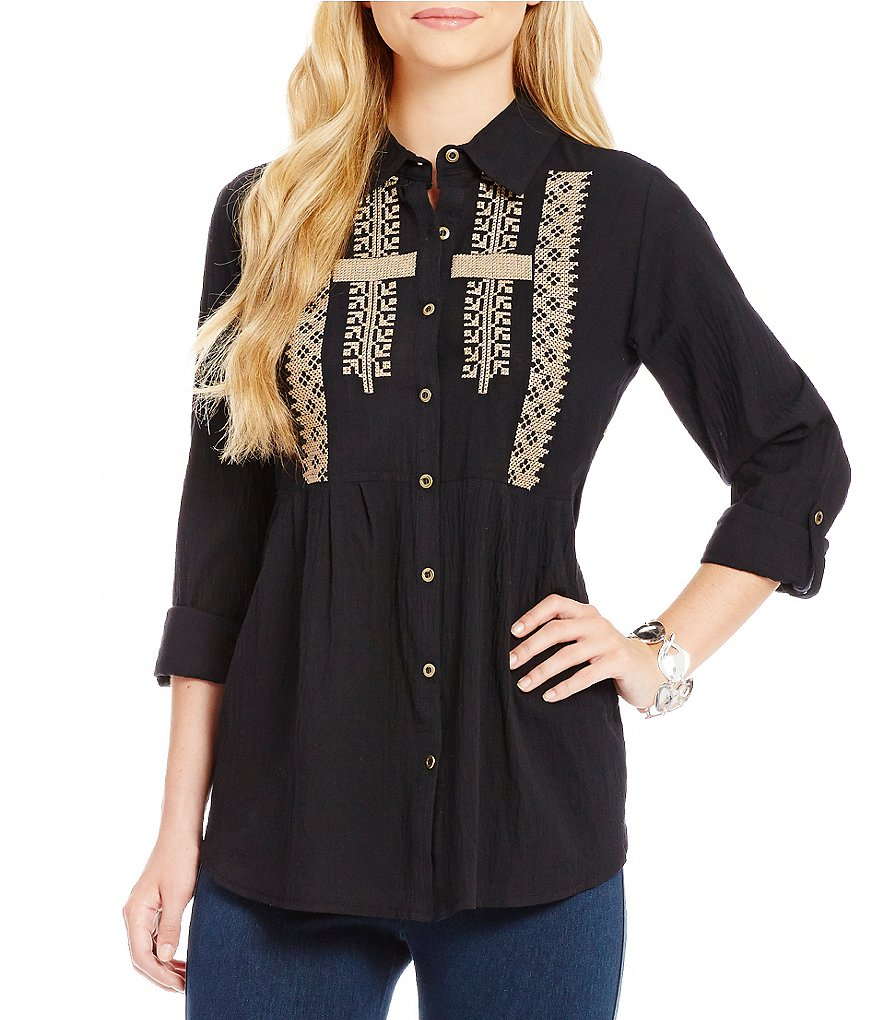 James Bryan Embroidered Button Front Blouse