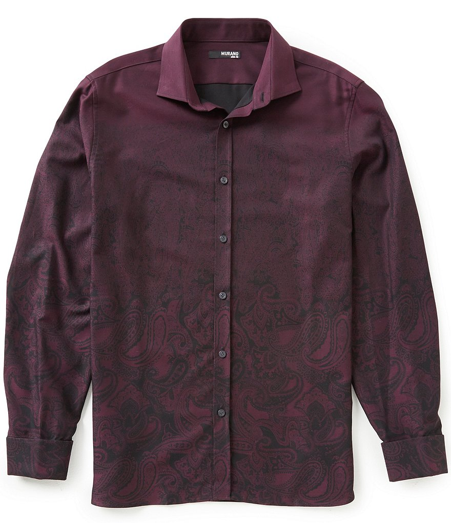 Murano Manhattan Collection Slim-Fit Long-Sleeve Paisley Sportshirt
