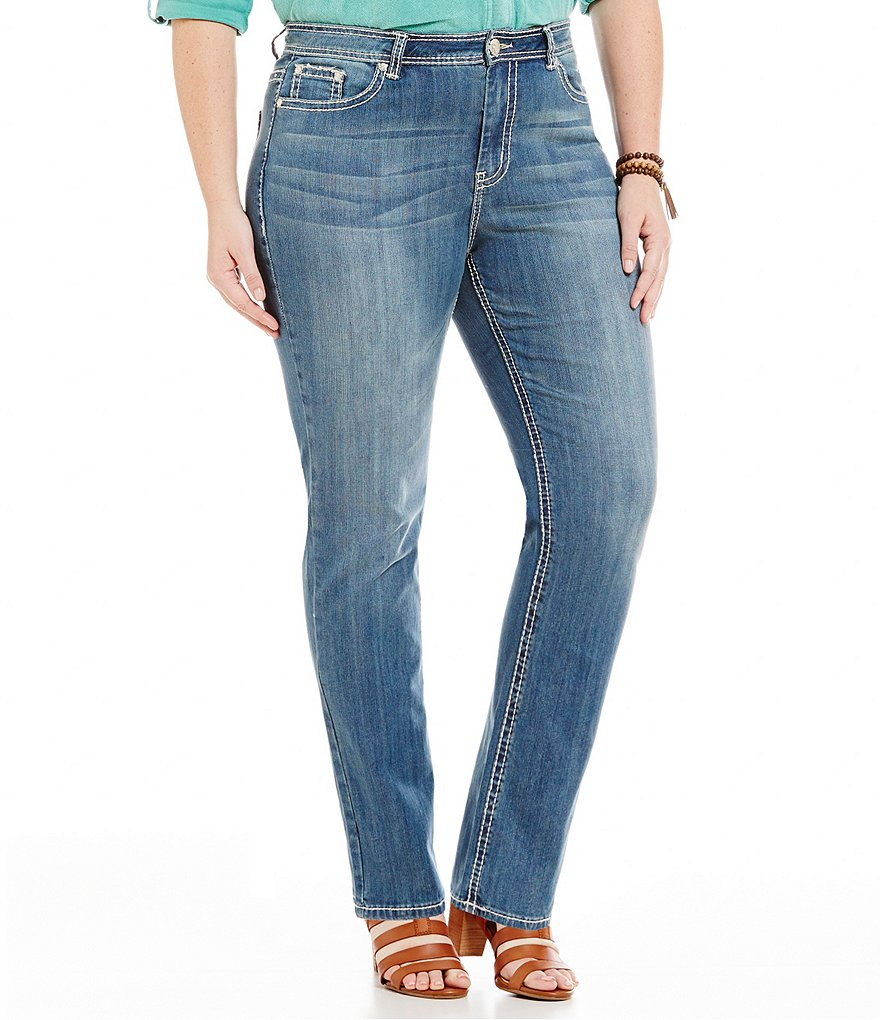 Reba Plus Jayden Embroidered Straight Jean