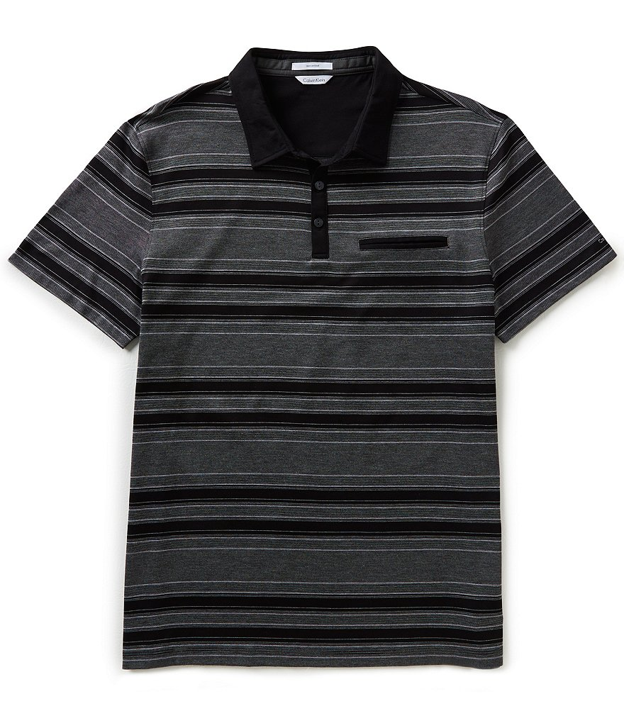 Calvin Klein Short-Sleeve Horizontal Striped Polo Shirt