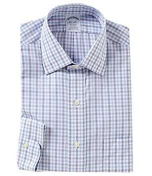 Brooks Brothers Non-Iron Regent Fit Fitted Classic-Fit Checked Spread Collar Dress Shirt