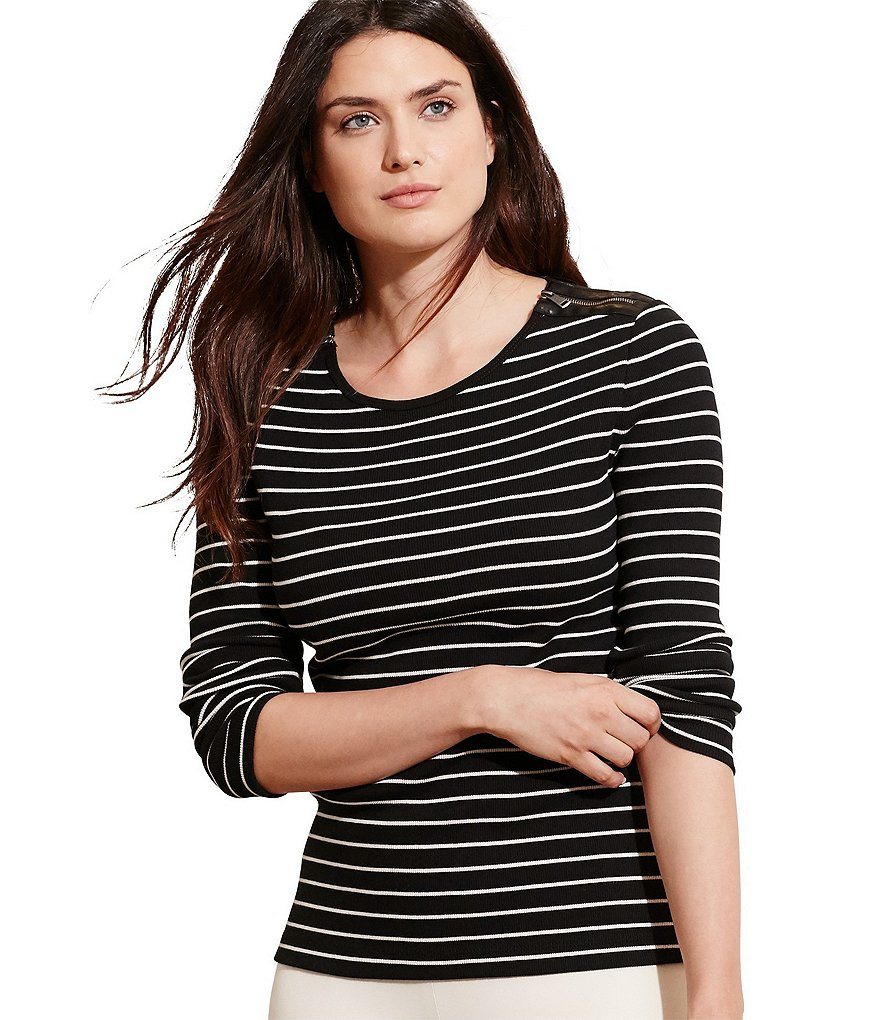 Lauren Ralph Lauren Plus Striped Zip-Shoulder Top