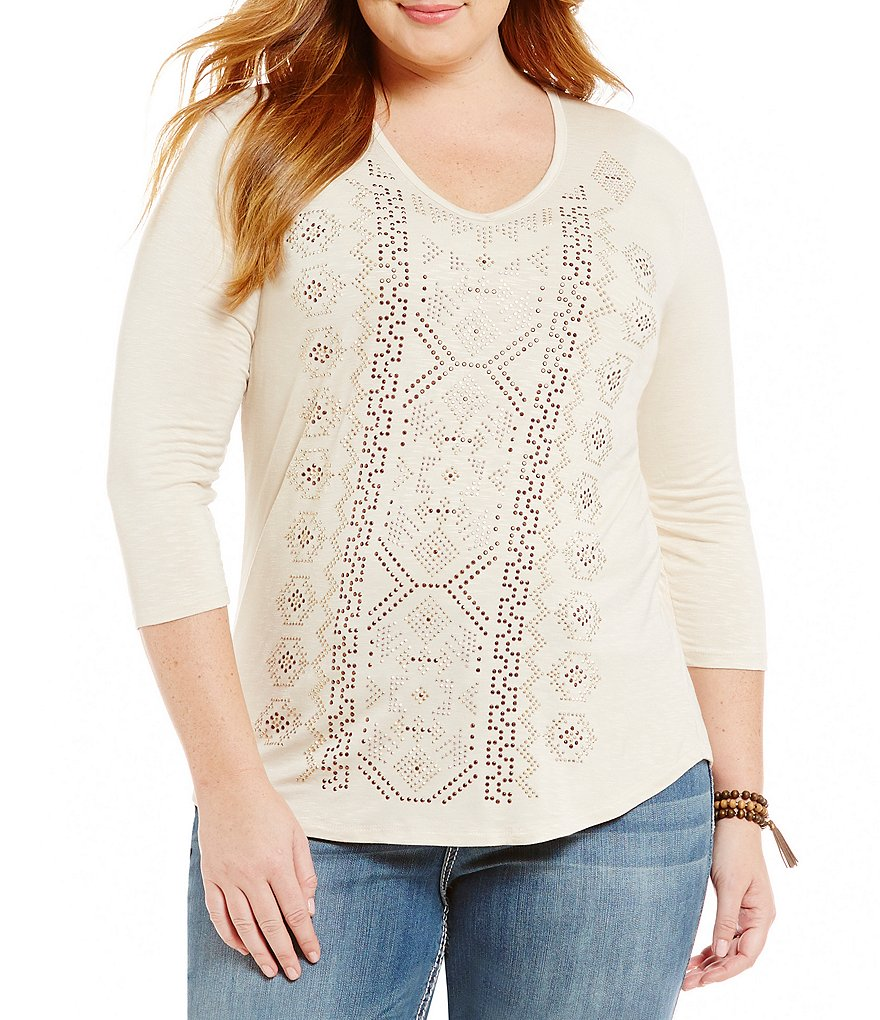 Reba Plus Stud Aztec Knit Top