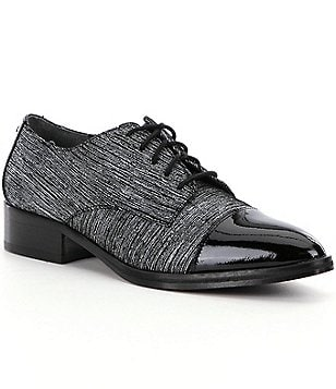 Donald J Pliner Gea Tailored Streaked Suede Patent Leather Cap Toe Oxfords