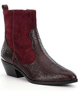 Donald J Pliner Jessie Cracked Calf Leather and Suede Booties
