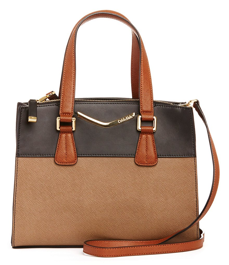 Calvin Klein Saffiano Color Block Satchel