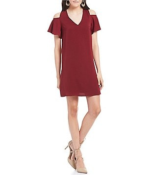 Sugarlips V-Neck Ruffled Short Sleeve Cold-Shoulder Shift Dress