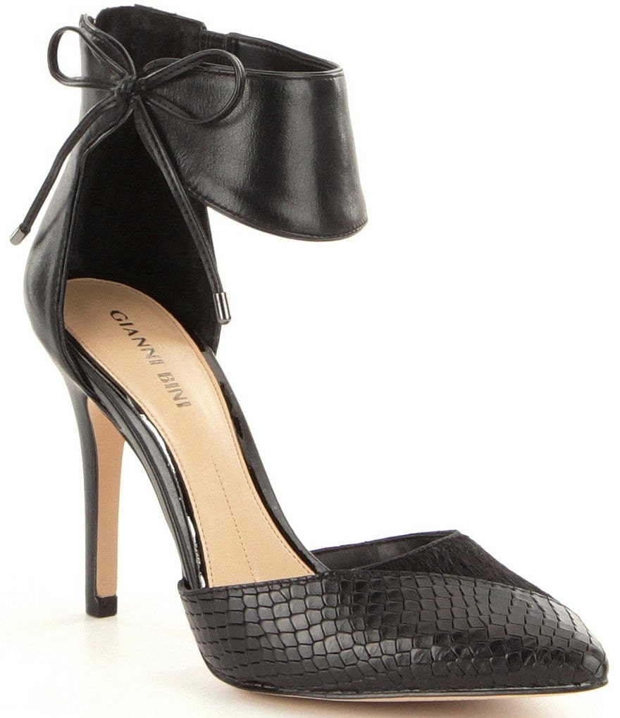 Gianni Bini Deeandra Calf Hair Snake Print Ankle Strap Bow Tie Dress Pumps