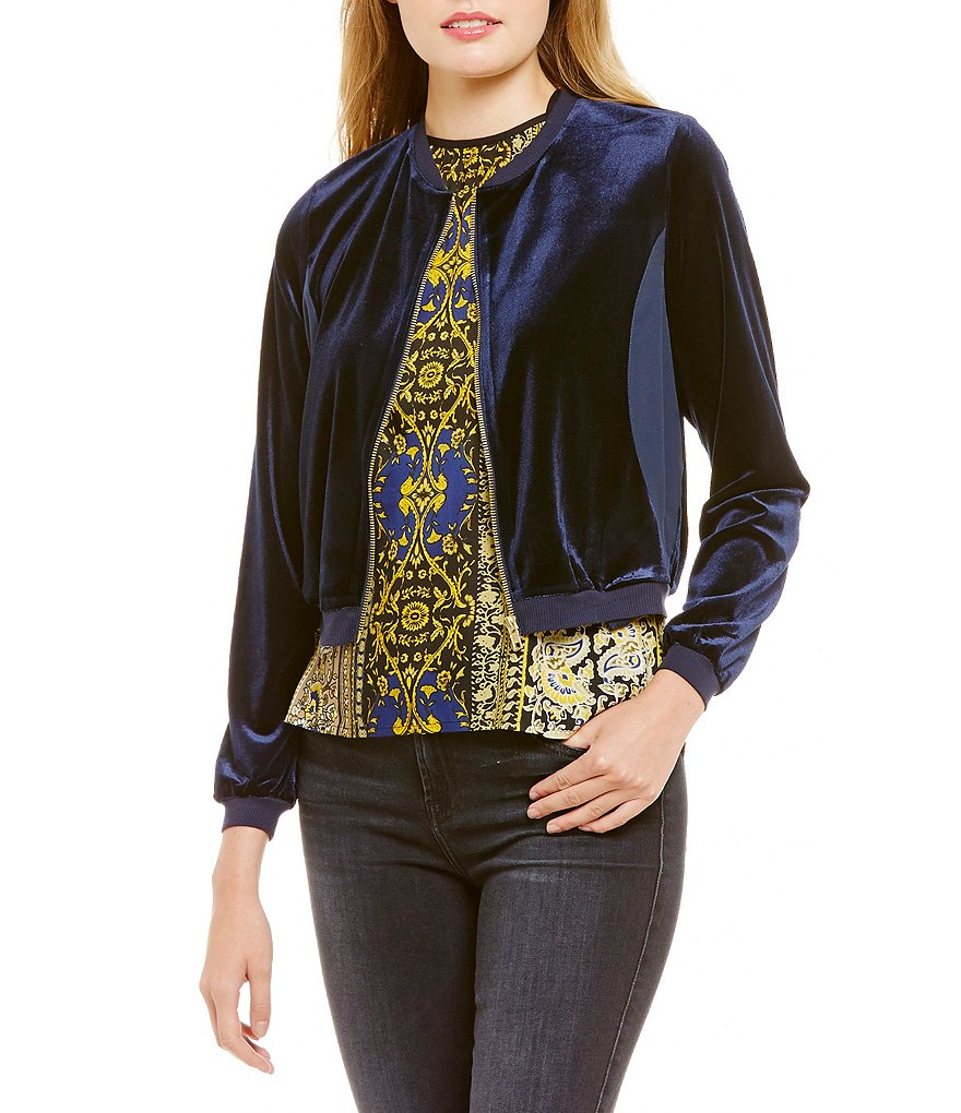 Band Of Gypsies Round Neck Velvet Bomber Jacket