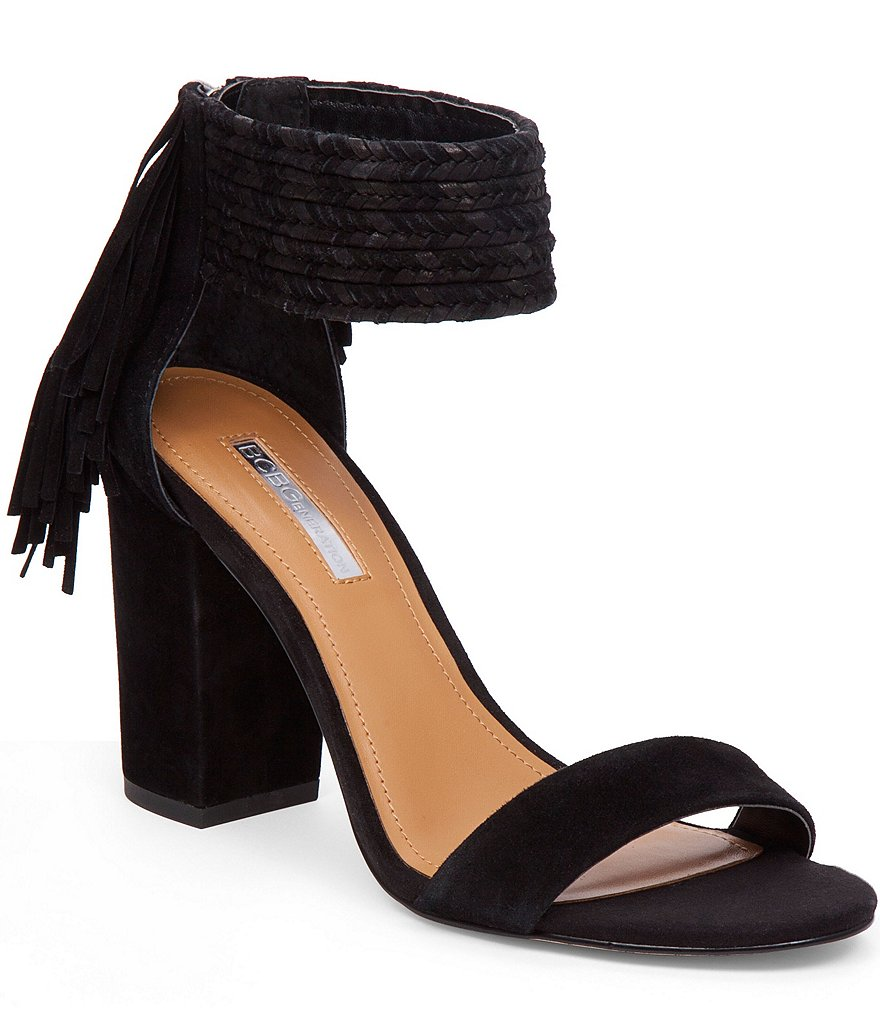 BCBGeneration Calizi Fringe Block Heel Sandals