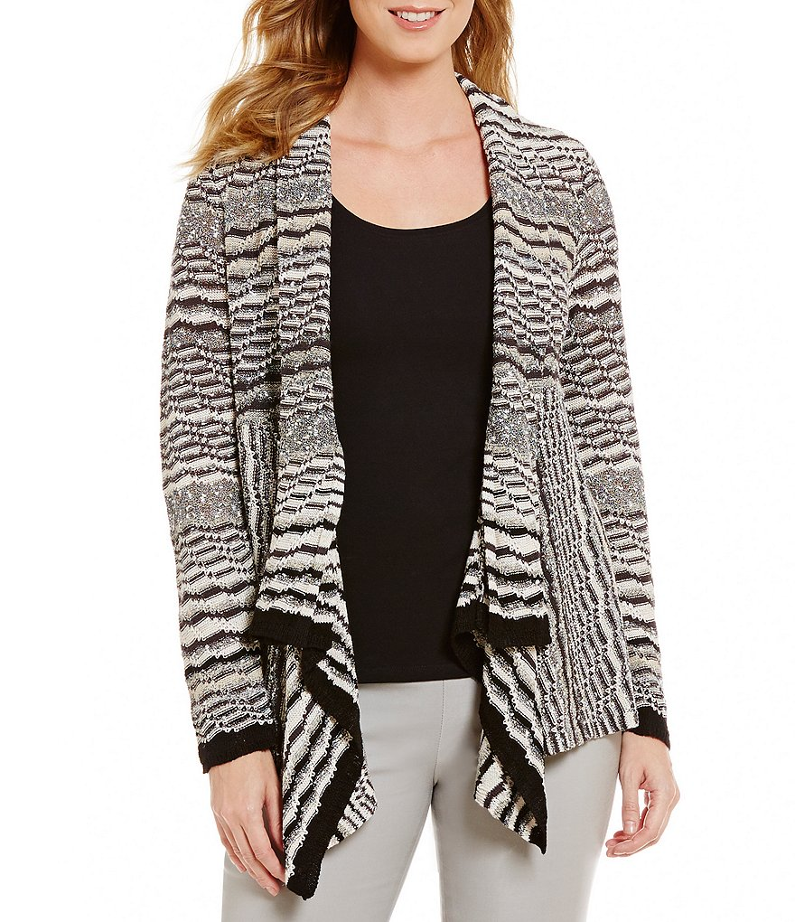 ZOZO Drape Neck Long Sleeve Open Front Striped Cardigan