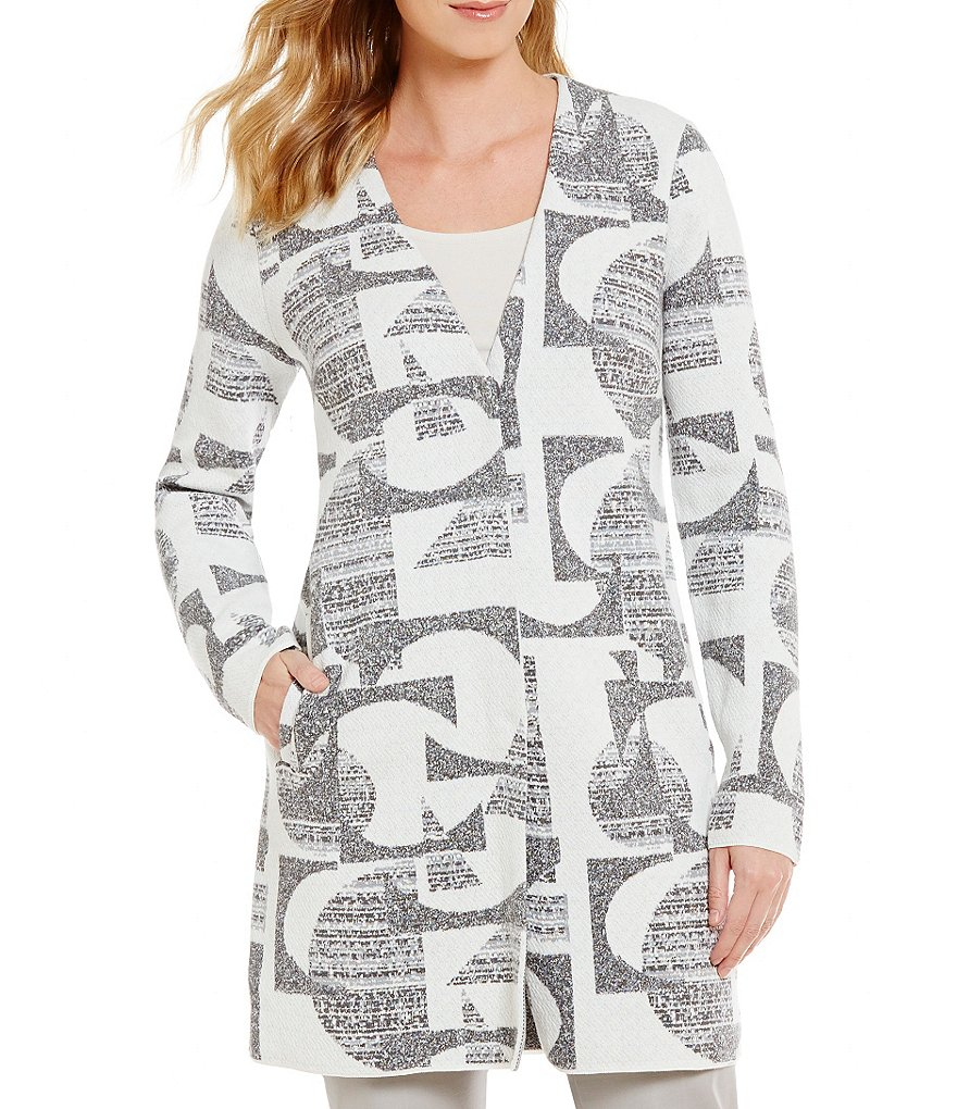 ZOZO V-Neck Side Slit Snap Front Geo Printed Jacket