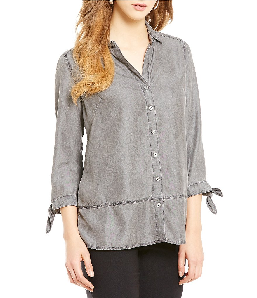 ZOZO Drapey Denim Tie Sleeve Top