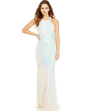 MAC by Mac Duggal High Neckline Beaded Long Dress