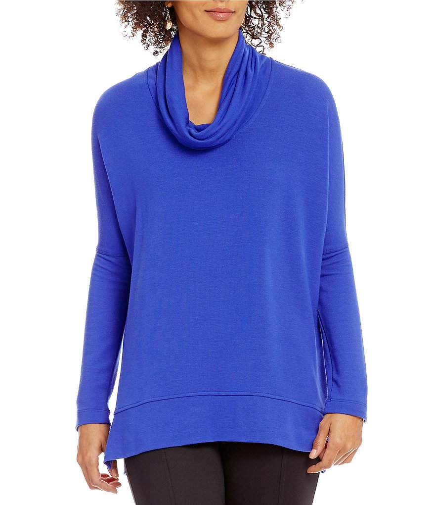 John Mark Drop Shoulder Cowl Neck Hi-Low Hem Tunic