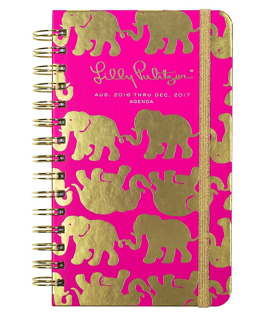 Lilly Pulitzer Tusk In Sun Metallic Elephant Medium 2016-2017 Agenda