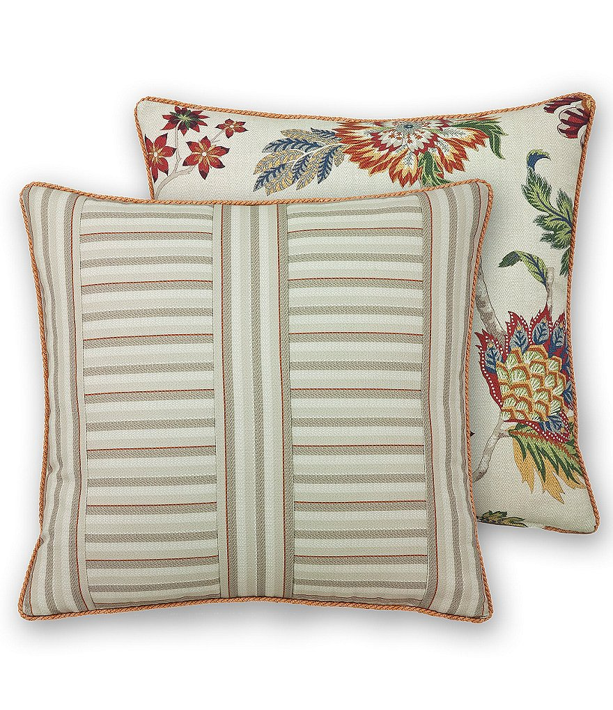 Rose Tree Lisburn Striped & Floral Herringbone Square Pillow