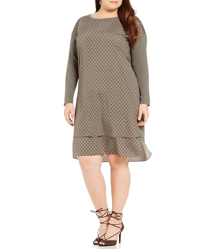 Lauren Ralph Lauren Plus Crew Neck Layered Sweater Dress