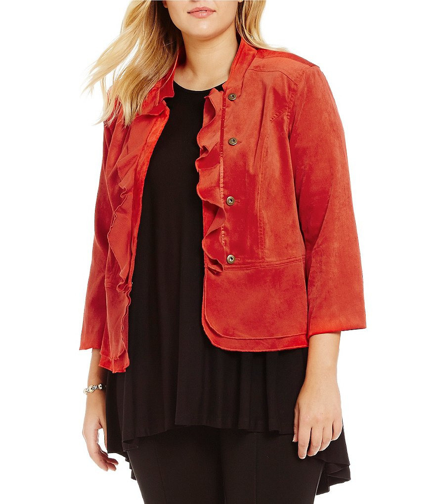 Multiples Plus 3/4 Sleeve Faux Suede Jacket