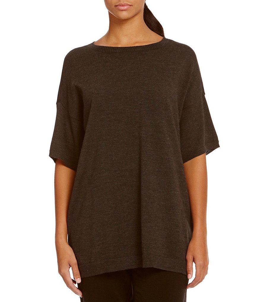 Eileen Fisher Round Neck Elbow Sleeves Tunic