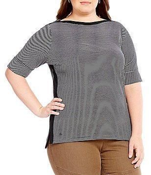 Lauren Ralph Lauren Plus Striped Stretch Cotton Tee