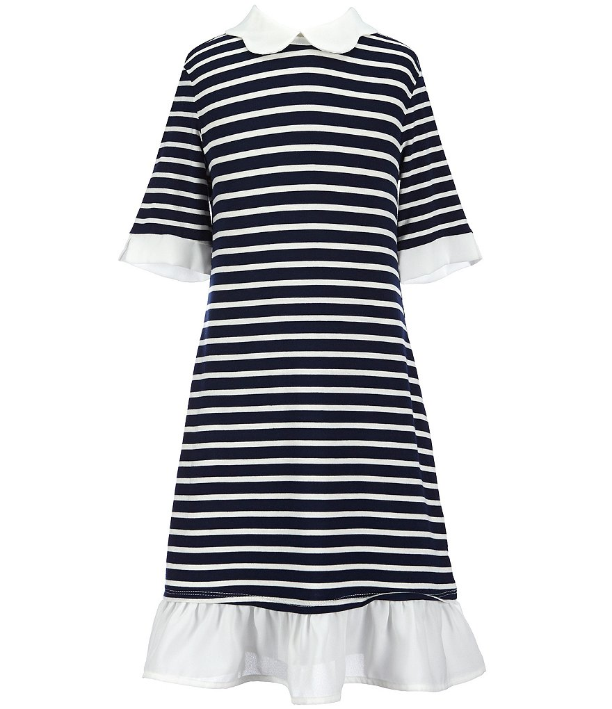 Monteau Girl Big Girls 7-14 Scalloped-Collar Striped Dress