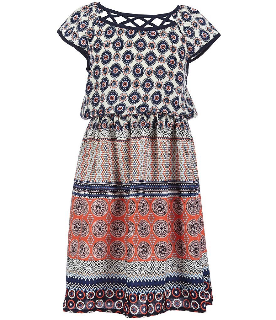 Monteau Girl Big Girls 7-14 Lattice-Neckline Printed Dress