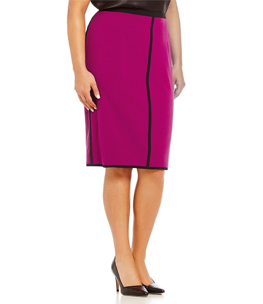 Kasper Plus Stretch Crepe Straight Skirt