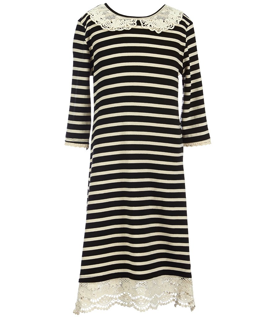 Monteau Girl Big Girls 7-16 Striped Lace Dress