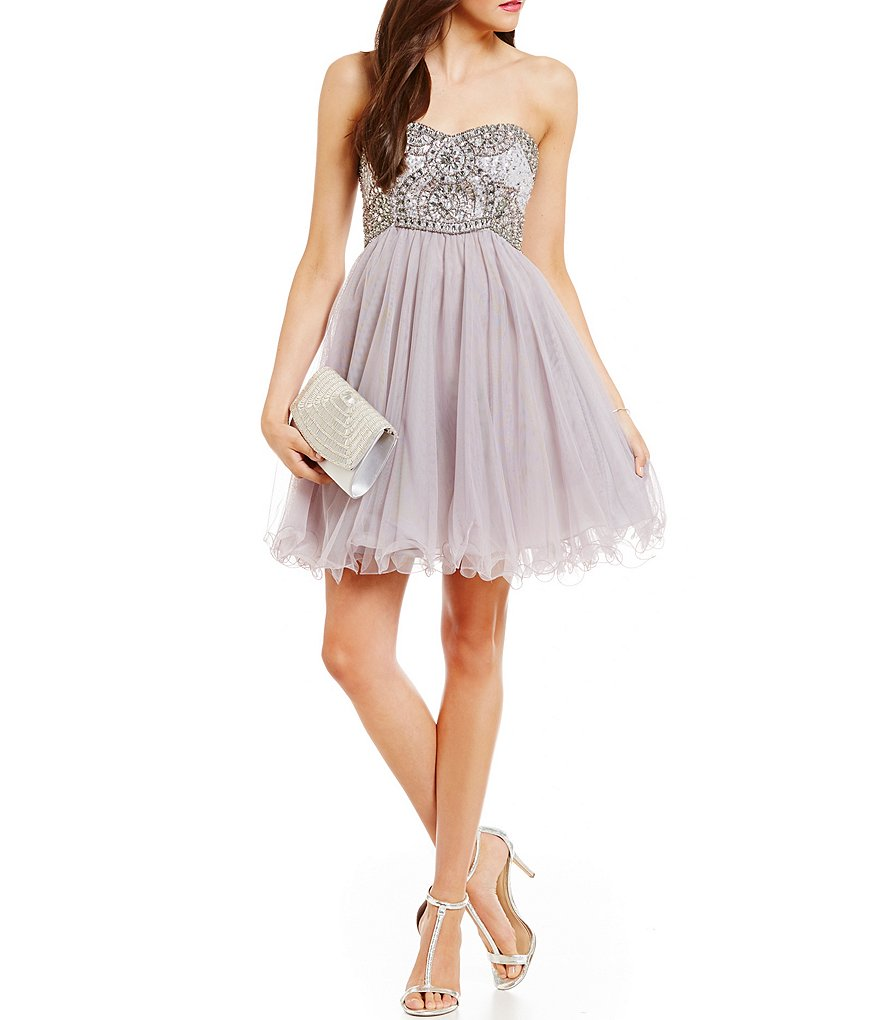 Blondie Nites Strapless Beaded Empire Bodice Swing Party Dress