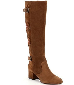 Gianni Bini Terrana Suede & Velvet Embroidered Back Boots