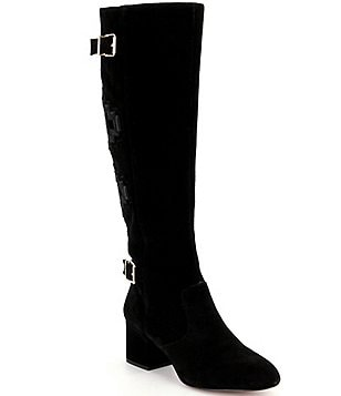 Gianni Bini Terrana Suede & Velvet Embroidered Back Wide Calf Boots