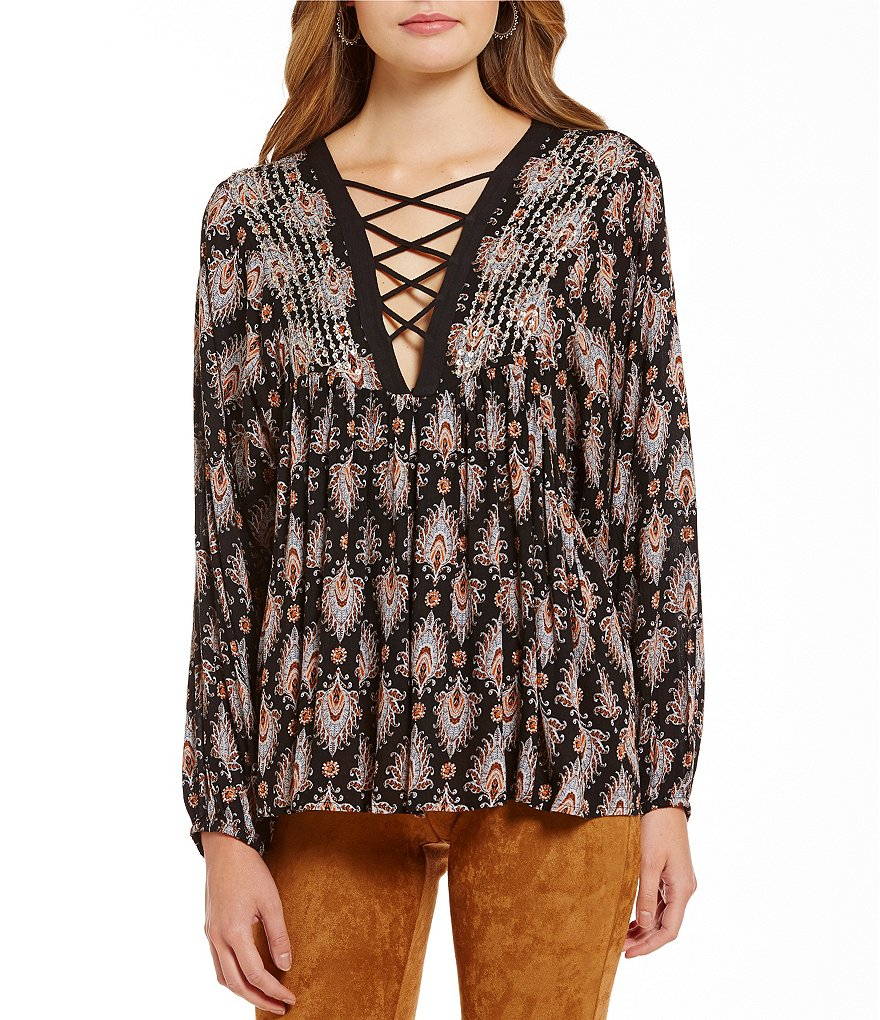 Sugarlips Feather Print Lace-Up Top