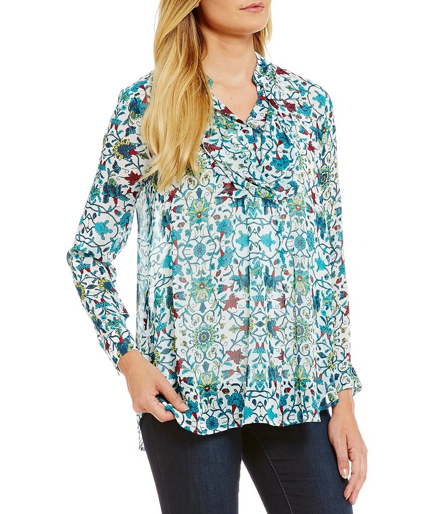 Fever Printed Ruffle Front Blouse