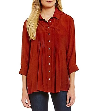 Fever Pleat Front Roll-Tab Sleeve Blouse
