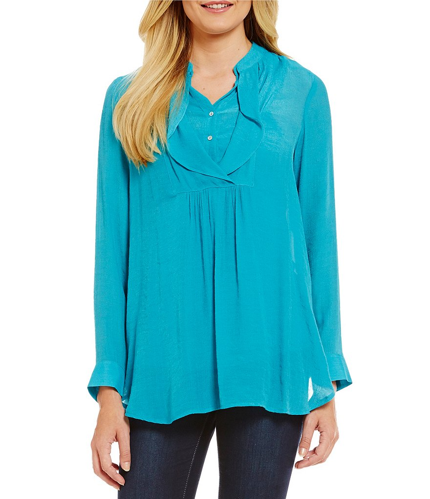 Fever Ruffle Front Long Sleeve Blouse