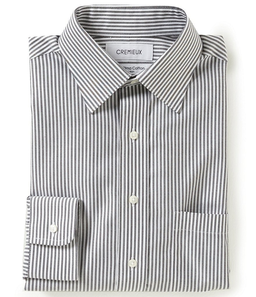 Cremieux Non-Iron Fitted Classic-Fit Spread-Collar Striped Dress Shirt