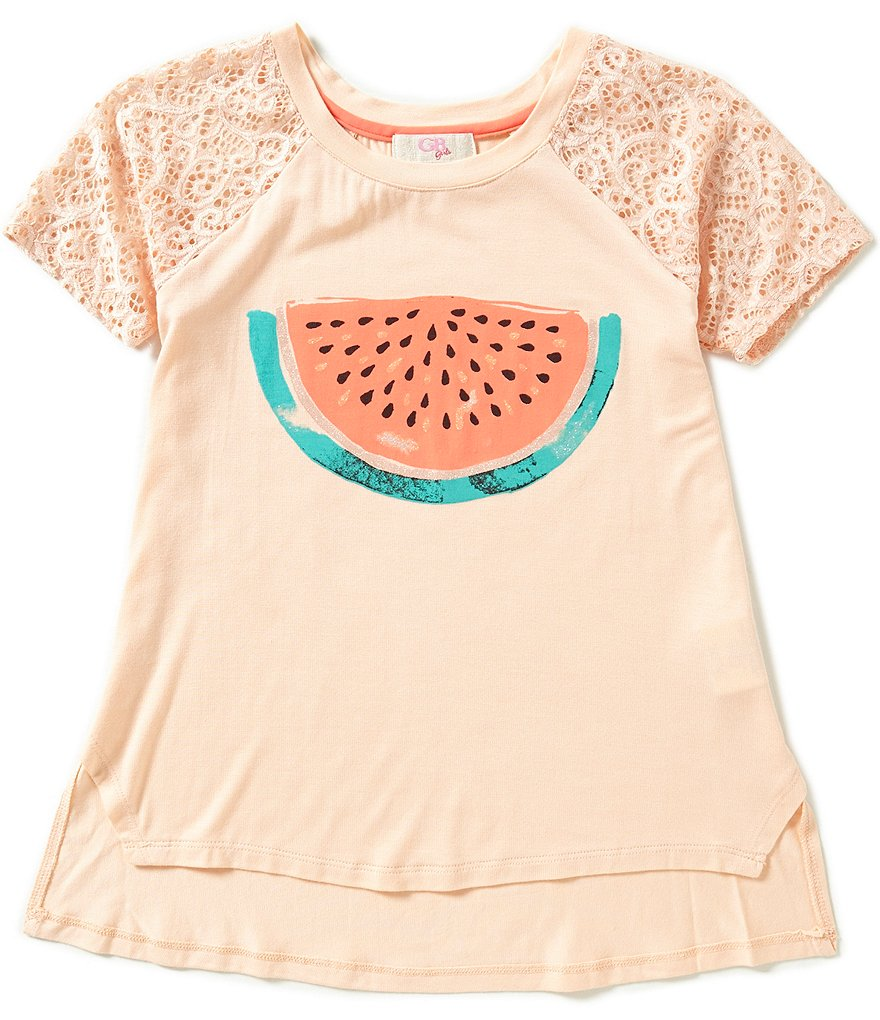 GB Girls Big Girls 7-16 Lace Sleeve Watermelon High-Low Hem Tee