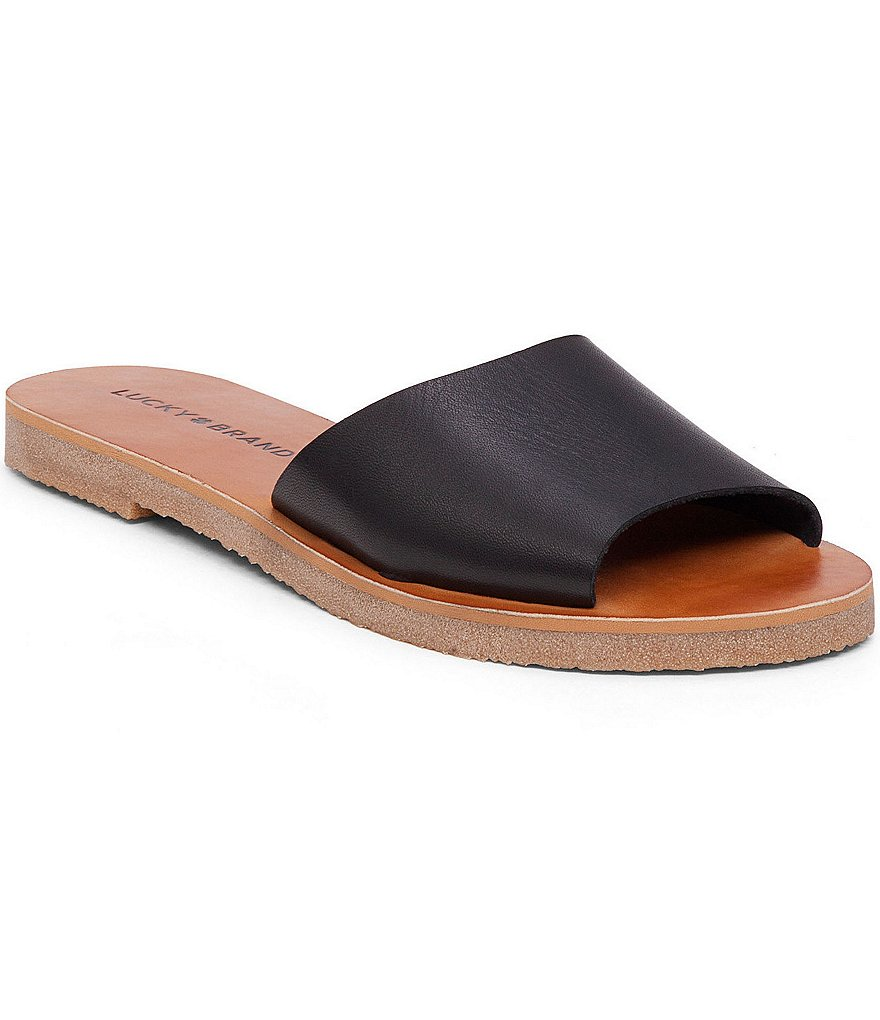 Lucky Brand Dorian Leather Wide Band Slide Sandals