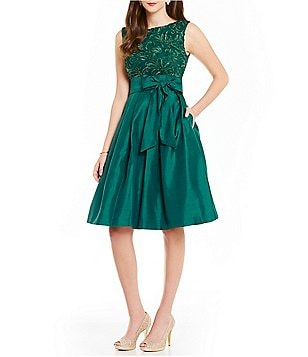 Jessica Howard A-Line Embroidered Bodice Taffeta Skirt Tie-Belt Party Dress