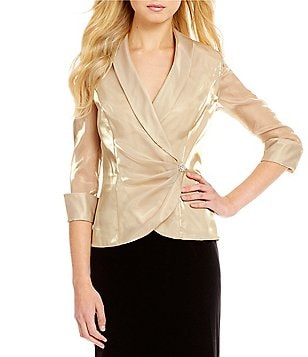 Alex Evenings 3/4 Sleeve Crystal Detail Wrap Top